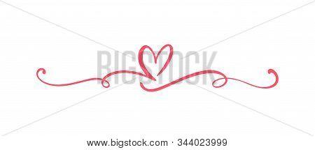 Heart Love Sign Logo. Design Flourish Element Valentine Card For Divider. Vector Illustration. Infin