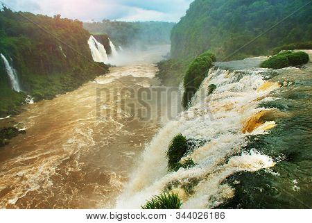 Waterfalls Of Iguacu In Brazil. Brazilian Side Of The Waterfalls. Powerful Water Energy.