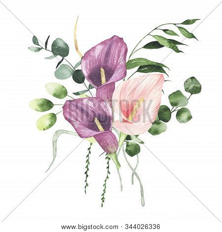 Watercolor Floral Bouquet With Flowers Roses Calla Lily Greenery Leaves Foliage Isolated On White Ba