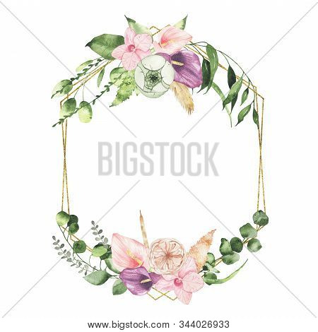 Watercolor Valentines Day Floral Golden Geometrical Wreath With Calla Lily Rose Greenery Leaves Isol