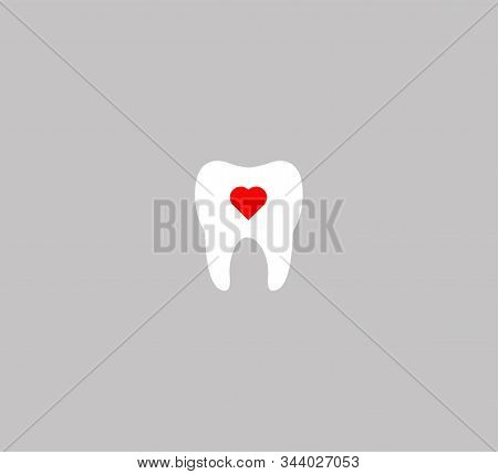 Vector Illustration - Tooth Logo, Dentistry, Healthy Teeth. Flat Design Tooth And Heart Icon.