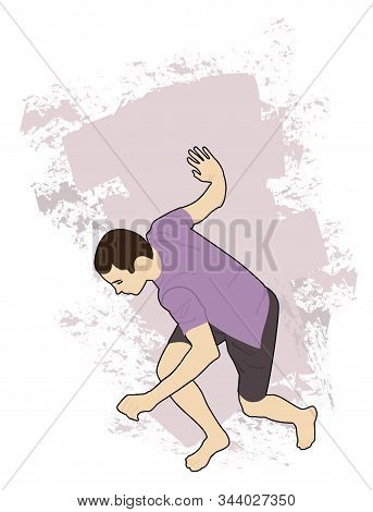 The Guy Is Sneaking Barefoot, Holding On To The Wall. Vector Illustration