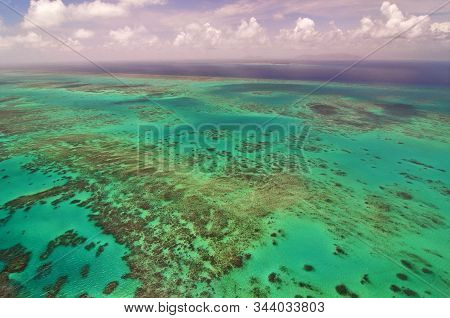 Aerial View Of The Great Barrier Reef, Whitsunday Islands, Queensland, Australia.