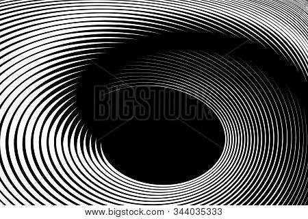 Illusion Of Spiral Swirl Movement. Abstract Op Art Lines Design. Vector Illustration.