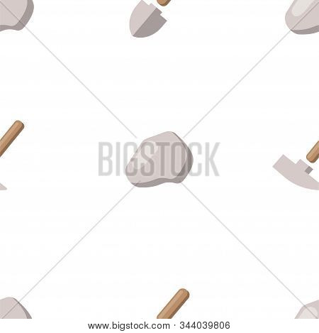 Shovel And Geological Hammer. Vector Patterns In A Flat Style. Geology, Archeology, History. Vector
