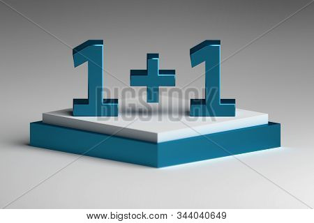 Large Blue Bold Numbers One Plus One 1+1 On Square White And Blue Pedestal. 3d Illustration.