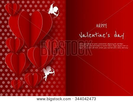 Valentine, valentine day, Valentines Day background, Valentine's day banners, Valentines Day flyer, Valentines Day design, Valentines Day with Heart on red background, Copy space text area, vector illustration.