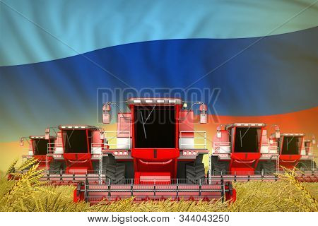 Some Red Farming Combine Harvesters On Wheat Field With Luhansk Peoples Republic Flag Background - F
