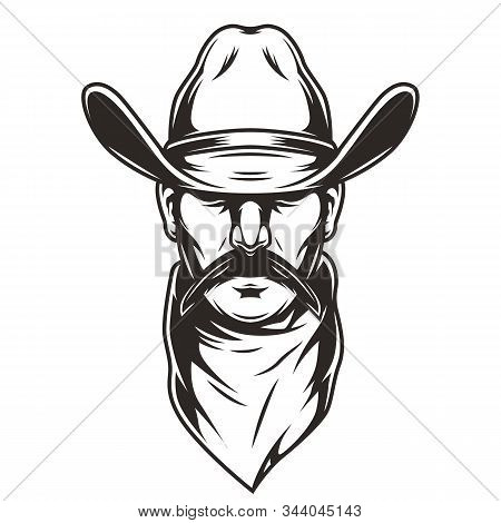 Man Head In Cowboy Hat Concept With Scarf And Mustache In Vintage Monochrome Style Isolated Vector I