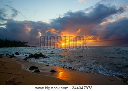 North Shore Of Oahu, Hawaii, At Sunset