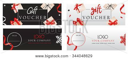 Set Of Luxury Gift Vouchers Templates With Bows, Gift Boxes And Place For Text And Logo. Elegant Tem