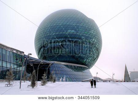 Astana, Nur-sultan/ Kazakhstan - January 6, 2020: View Of Nur Alem Sphere. Astana Expo-2017. World`s