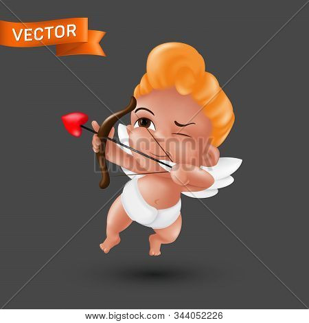 Little Baby Cupid Angel In A Diaper With A Bow And Arrow Heart-shaped Tip. Flying Amur Mascot To Hap