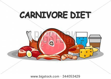 Carnivore Diet Vector Illustration. Carnivore Diet Food Elements. For Brochure Or Banners.