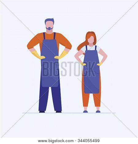 Craftsman And Craftswoman Standing. Professional Workers In Uniform Holding Hands On Waist Flat Vect