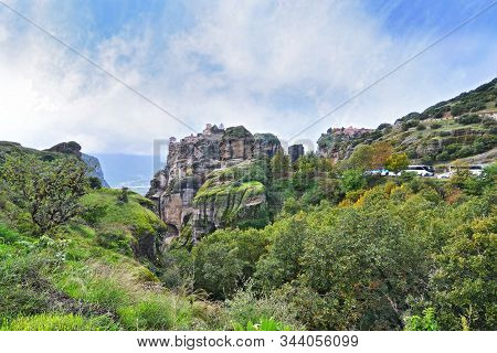 Scenery Of Meteora Thessaly Greece - Huge Rocks With Old Orthodox Monasteries