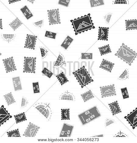 Set Postal Stamp And Egypt Pyramids, Infographic Of City Map Navigation, Postal Stamp And Mountains