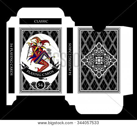 Playing cards tuck box template with a Joker image. Original design in flat style