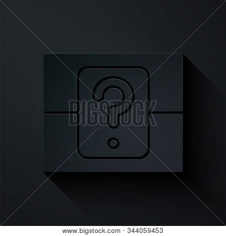 Paper Cut Mystery Box Or Random Loot Box For Games Icon Isolated On Black Background. Question Box.