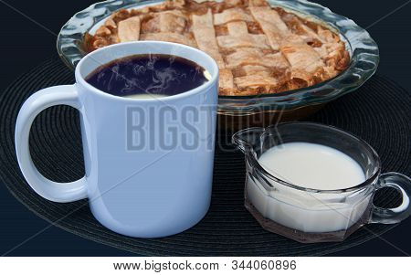 White Coffee Cup Mockup With Peach Pie And Cream In An Antique Creamer Glassware.  Room For Text On