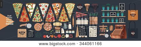 Pizza House -small Business Graphics -product Range. Modern Flat Vector Concept Illustrations -pizza