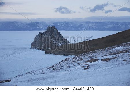 Rock Shaman. Cape Burhan Landscape. Lake Baikal, Winter