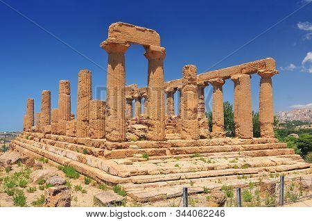 Ancient Greek Temple Of Juno Agrigento Sicily Italy.