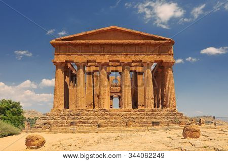 Temple Of Concordia. Valley Of The Temples In Agrigento On Sicily Italy.