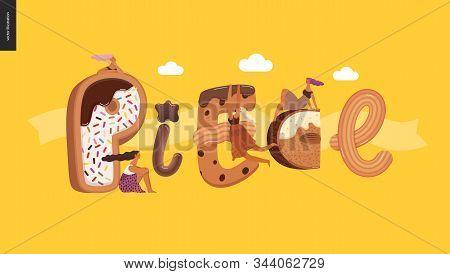 Dessert Lettering - Piece - Modern Flat Vector Concept Digital Illustration Of Temptation Font, Swee