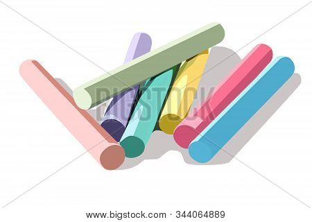 Realistic Vector Illustration Isolated Sidewalk Chalk Color
