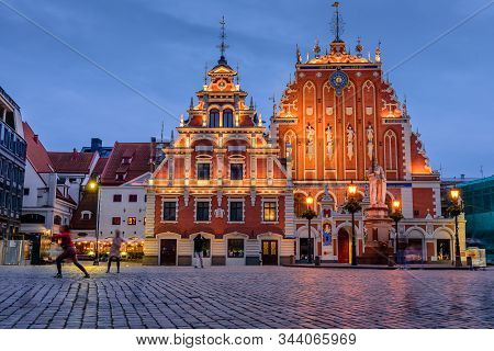 Riga, Latvia - October 18, 2019: Sightseeing Of Latvia. City Hall Square With House Of The Blackhead