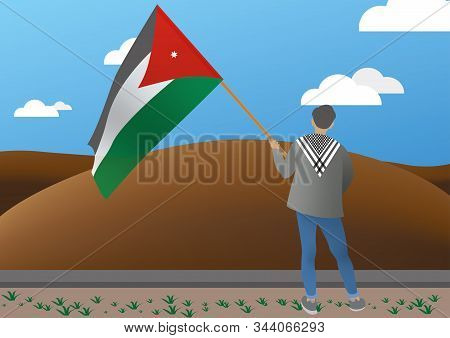 Illustration Of A Young Man Holding A Jordanian Flag
