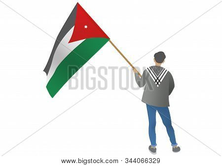Illustration Of A Young Man Holing A Jordanian Flag
