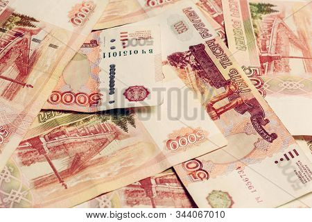 The Texture Of The Largest Russian Banknotes 5000 Rubles.