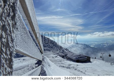 Fairy-tale View On Old Snowy Cottage On The Top Of Chopok Mountain In National Park Low Tatras In Sl