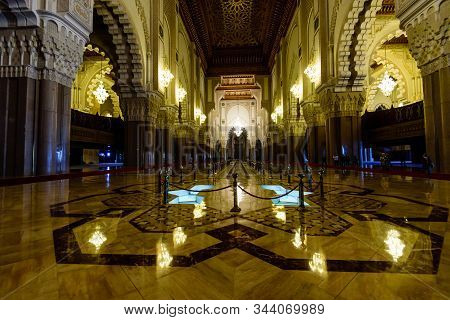 Casablanca, Morocco - December 12, 2018: Sightseeing Of Morocco. The Hassan Ii Mosque Is The Largest