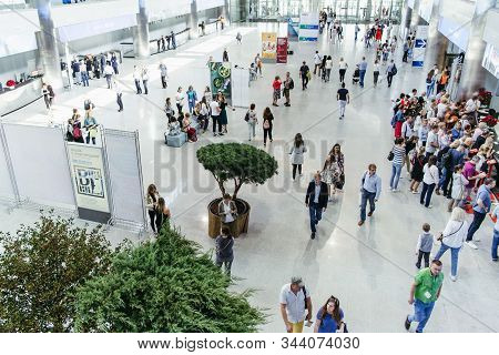 Moscow, Russia. September 9, 2019. Flower Show At The Crocus Expo Center. Top View Of The Hall Full
