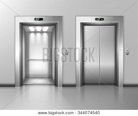 Lift Doors, Elevator Close And Open. Building Hall Interior With Chrome Metal Gates, Buttons And Sta