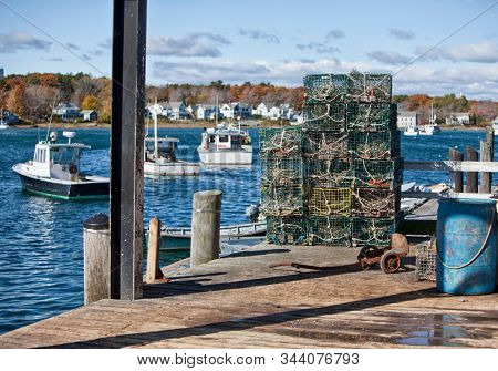 Lobster fishing cages in Maine, New England