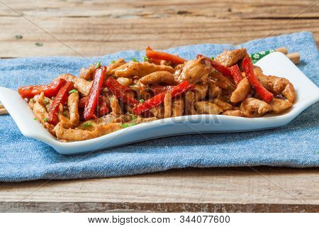 Chicken With Oyster Sauce With Fresh Pepper And Veggie
