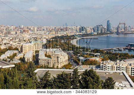 Baku, Azerbaijan - November 13, 2019: Panoramic View Of The Caspian Sea In Baku. Top View Of The Cit