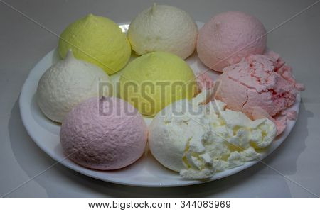 Air Marshmallows In Pastel Shades. A Gentle Marshmallows. Marshmallows That You Want To Eat. A Gentl