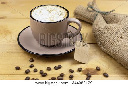 Hot Coffee Cup. Strong Coffee On Wooden Table Background. Espresso Coffee Cup On Table. Fresh Coffee