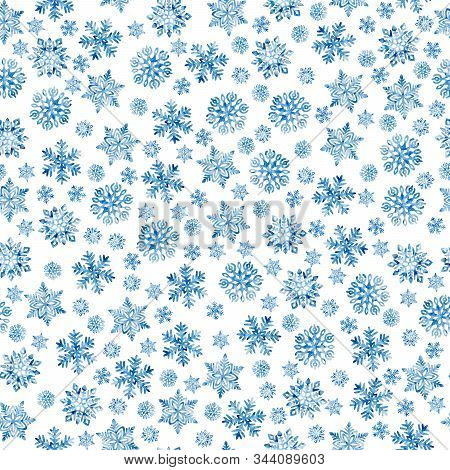 Seamless New Year And Christmas Pattern. Blue Watercolor Snowflakes On A White Background. Print For