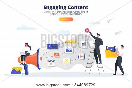 Engaging Content Business Concept. Blogging, Smm, Media Planning, Promotion In Social Network Concep