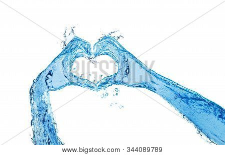 Hands Made Of Liquid Water Show Heart Love Gesture