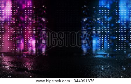 Dark Street Of The Night City. Abstract Bokeh Light. Reflection On The Wet Asphalt, The Lights Of Th