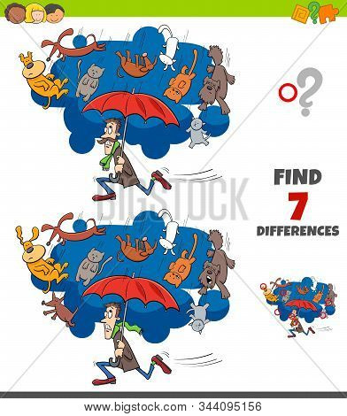 Cartoon Illustration Of Finding Differences Between Pictures Educational Game For Children With