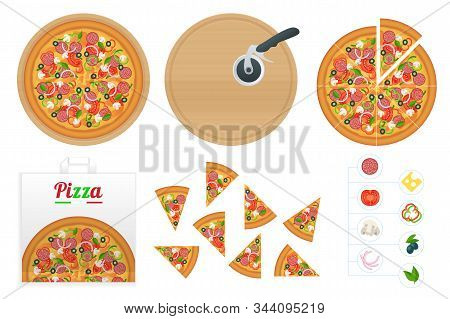 Isometric Delicious Pizza With Ingredients And Spices. Slice Of Fresh Italian Classic Pizza Isolated