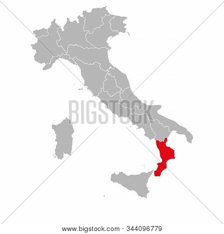Calabria Highlighted On Italy Map. Gray Background. Italian Political Map.